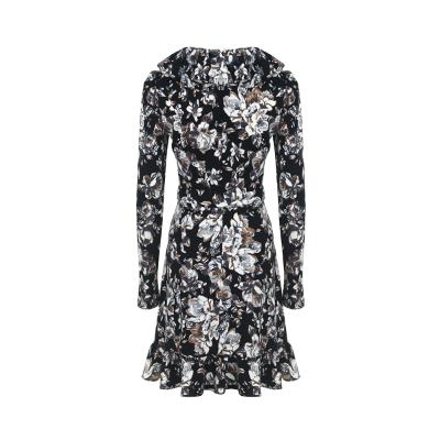 flower pattern frill wrap dress